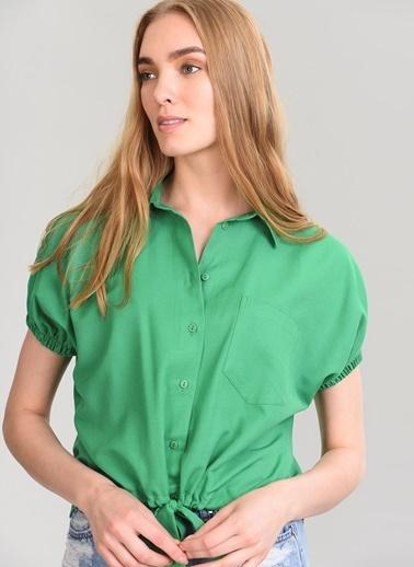 Agenda Bağlama Detaylı Gömlek Yeşil